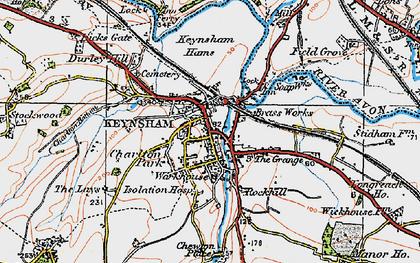 Old map of Keynsham in 1919
