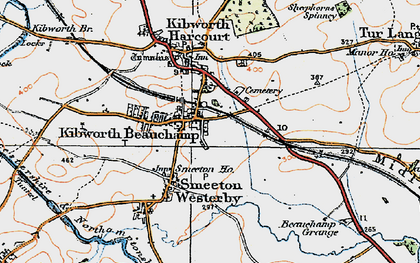 Old map of Kibworth Beauchamp in 1920