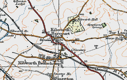 Old map of Kibworth Harcourt in 1921