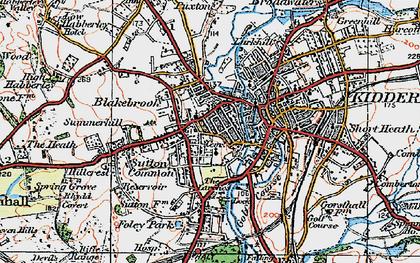 Old map of Kidderminster in 1921