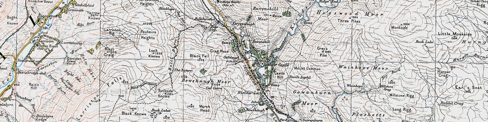 Old map of Kielder in 1925