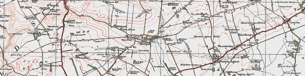 Old map of Kilham in 1924