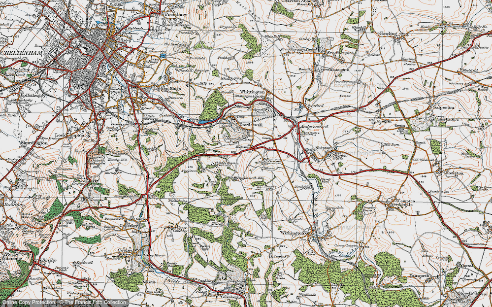 Old Map of Historic Map covering Lineover Wood in 1919