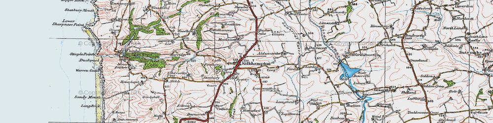 Old map of Kilkhampton in 1919