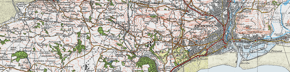 Old map of Killay in 1923
