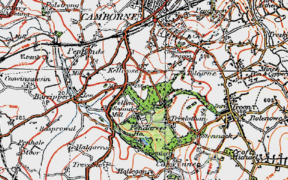 Old map of Killivose in 1919