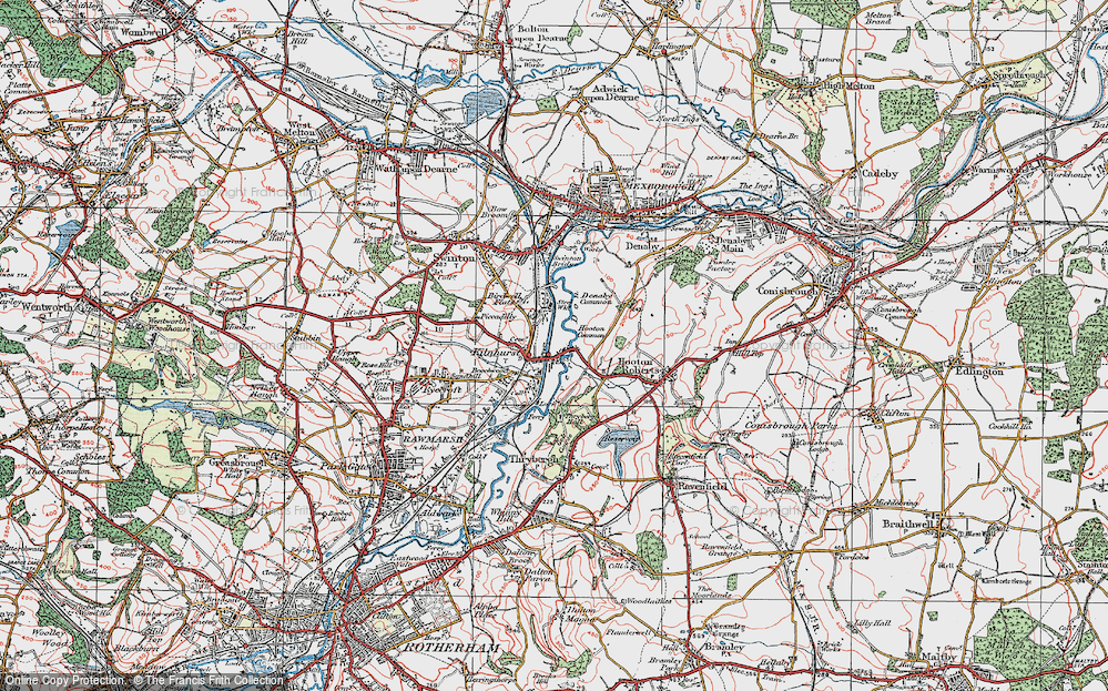 Old Map of Historic Map covering Thybergh Country Park in 1924