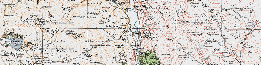 Old map of Amerdale Dub in 1925