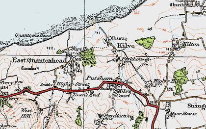 Old map of Kilve in 1919
