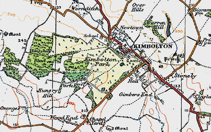 Old map of Kimbolton in 1919