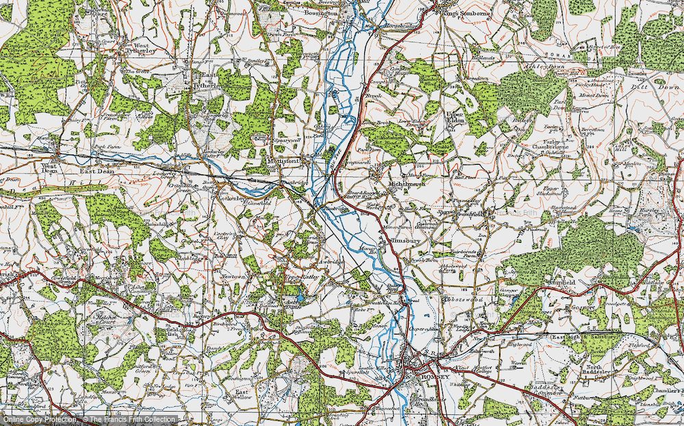 Old Map of Historic Map covering Linhay Meads in 1919