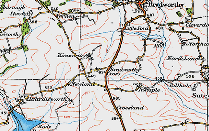 Old map of Wrangworthy in 1919