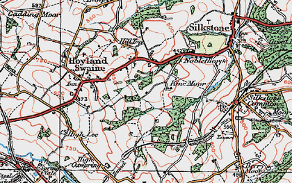 Old map of Kine Moor in 1924
