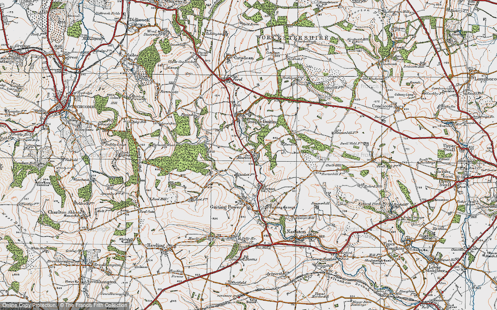 Old Map of Historic Map covering Leigh Wood in 1919