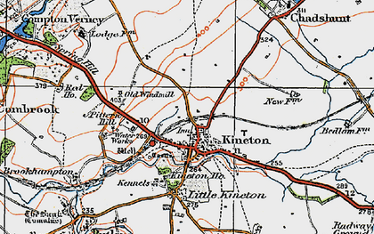Old map of Kineton in 1919