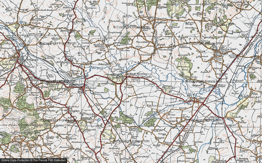 Old Map of Historic Map covering Woodgate in 1921