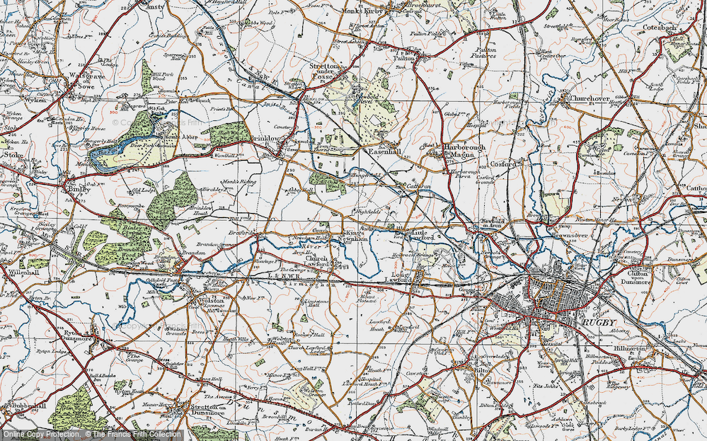 Old Map of Historic Map covering All Oaks Wood in 1920