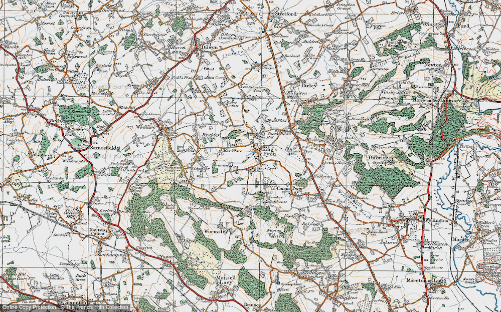 Old Map of Historic Map covering Wootton in 1920