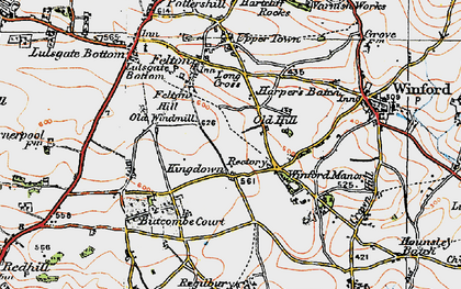 Old map of Winford Manor in 1919