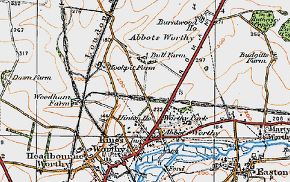 Old map of Kings Worthy in 1919