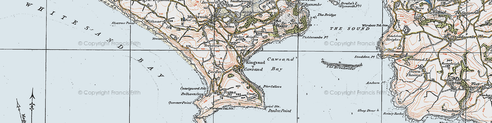 Old map of Kingsand in 1919