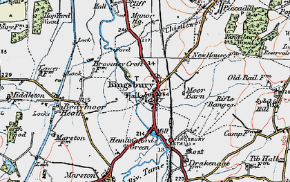 Old map of Kingsbury in 1921
