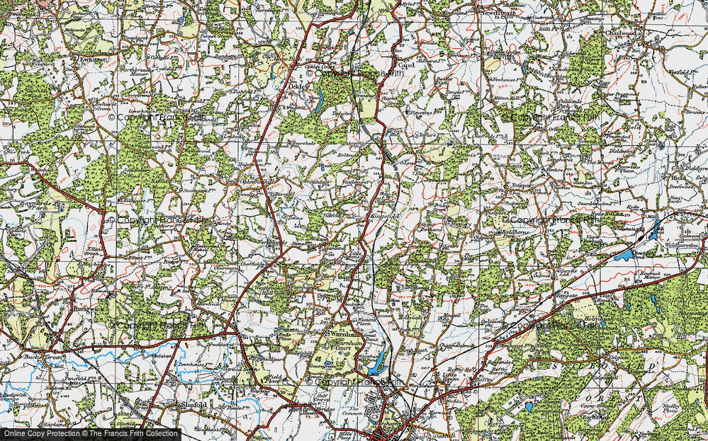 Old Map of Historic Map covering Langhurst in 1920