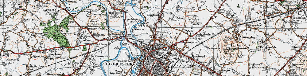Old map of Alney Island in 1919