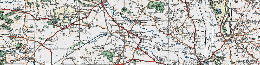 Old map of Kingsland in 1920