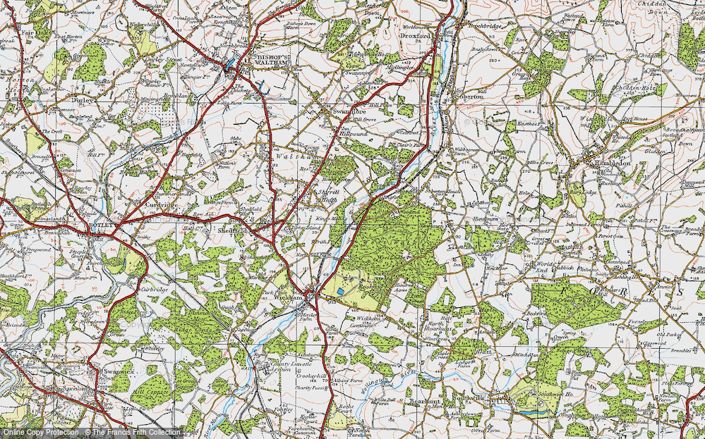 Old Map of Historic Map covering Woodend in 1919