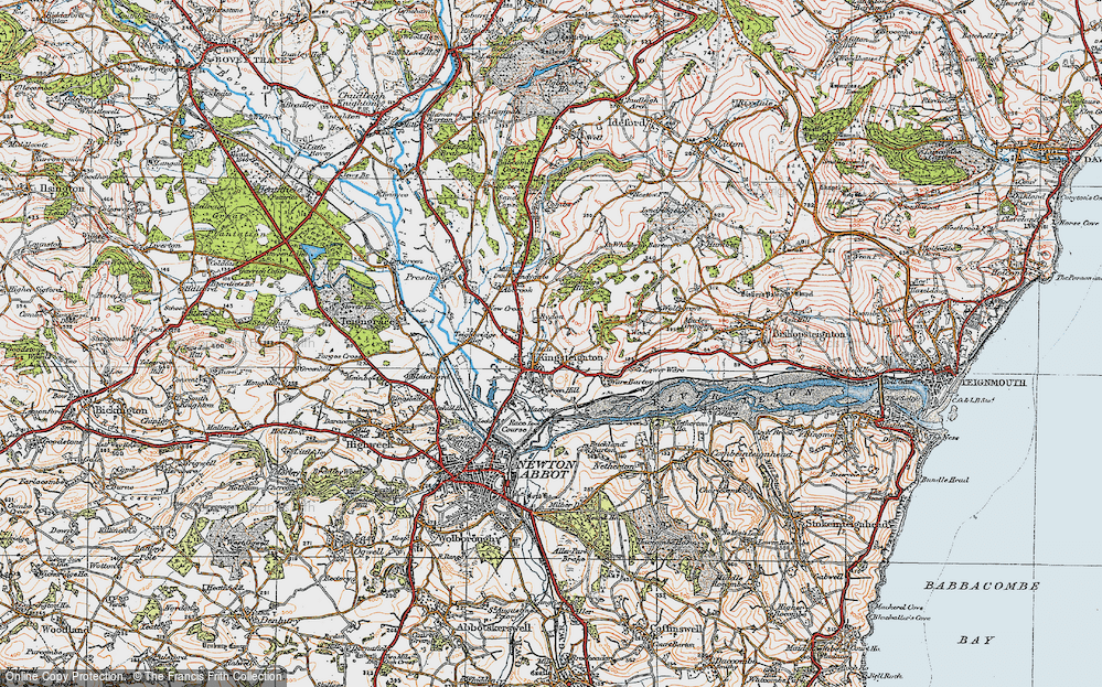 Old Map of Historic Map covering Lindridge Hill in 1919