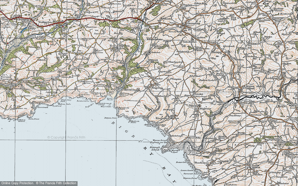 Old Map of Historic Map covering Ayrmer Cove in 1919