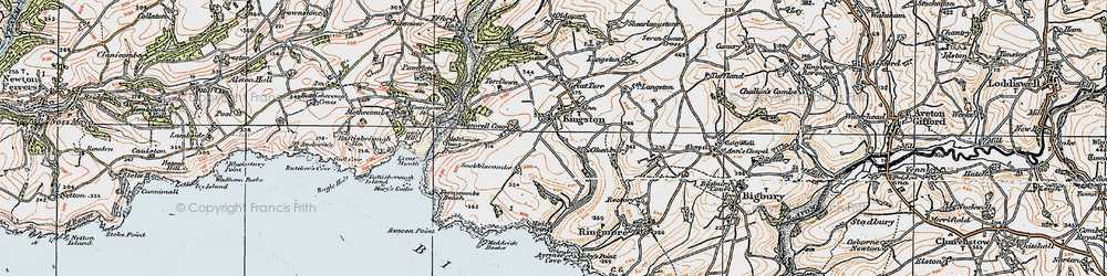 Old map of Westcombe Beach in 1919