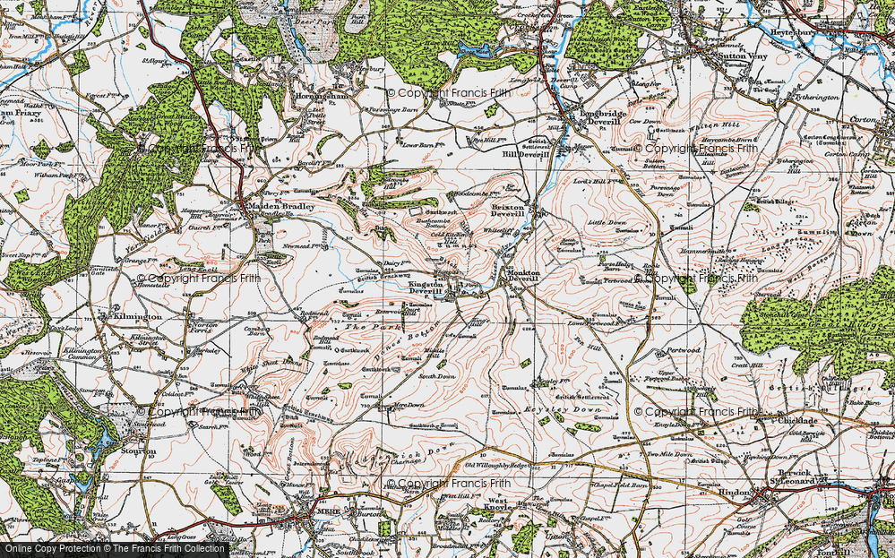 Old Map of Historic Map covering Woodcombe Bottom in 1919
