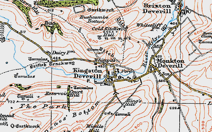 Old map of Whitecliff Down in 1919