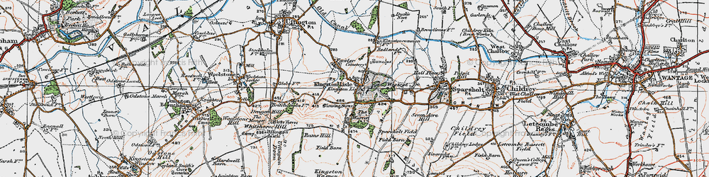 Old map of Kingston Lisle in 1919