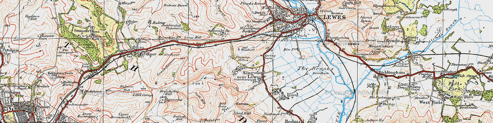 Old map of Kingston near Lewes in 1920