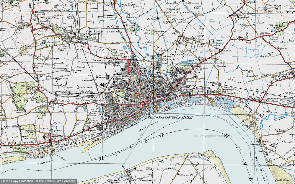 Map of Kingston upon Hull 1924 Francis Frith
