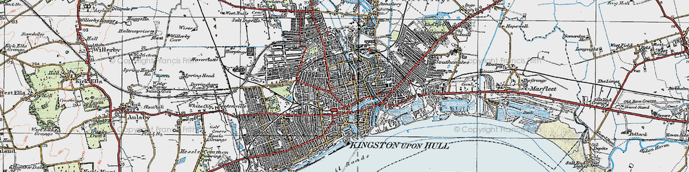 Old map of Kingston upon Hull in 1924