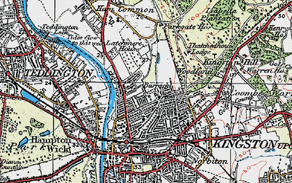 Old map of Kingston Upon Thames in 1920