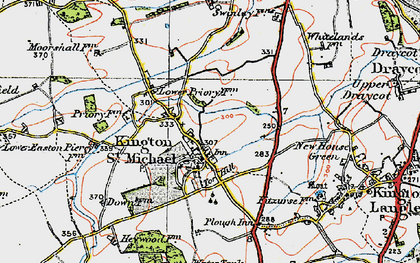 Old map of Kington St Michael in 1919