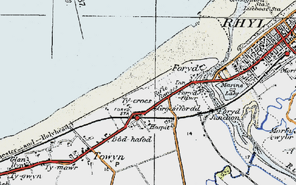 Old map of Kinmel Bay in 1922