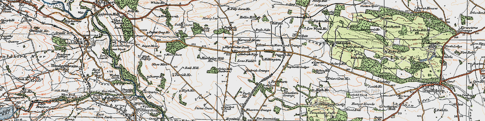 Old map of Woolly Hill in 1925