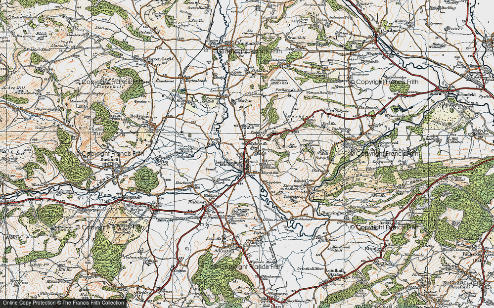 Old Map of Historic Map covering Leintwardine Manor in 1920
