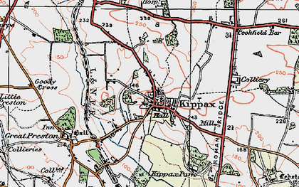 Old map of Kippax in 1925