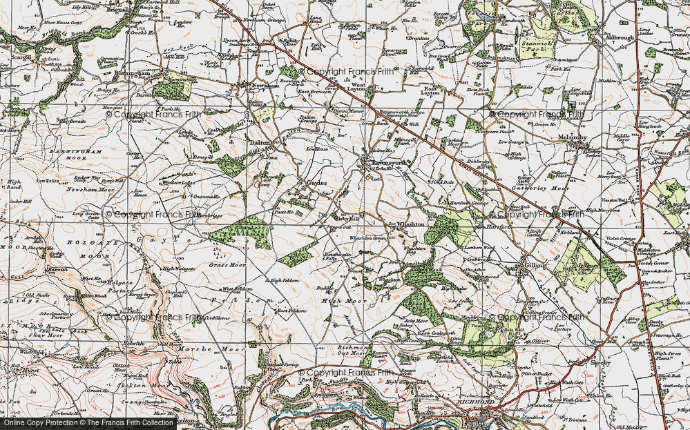 Old Map of Historic Map covering Aske Moor in 1925