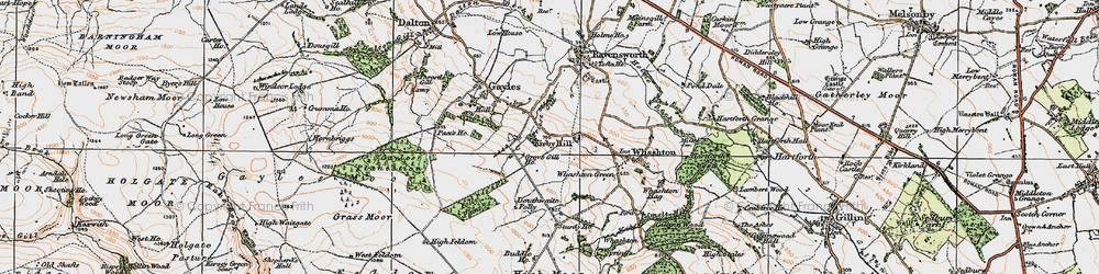 Old map of Kirby Hill in 1925