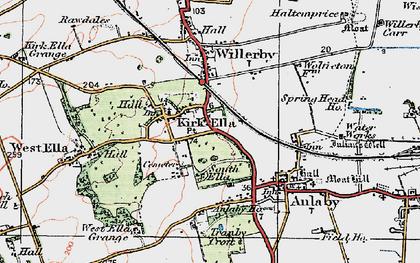 Old map of Kirk Ella in 1924