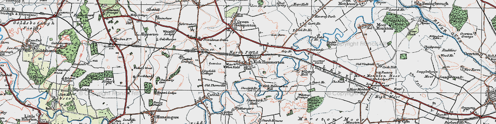 Old map of Kirk Hammerton in 1925