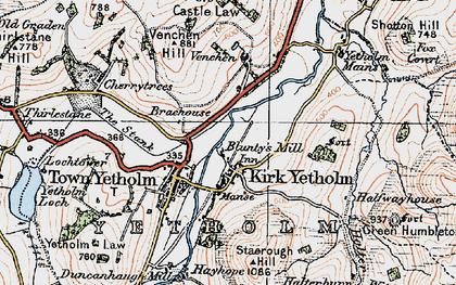 Old map of Yetholm Mains in 1926